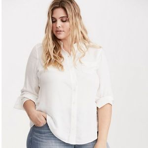Torrid shadow stripe button down chest pocket top